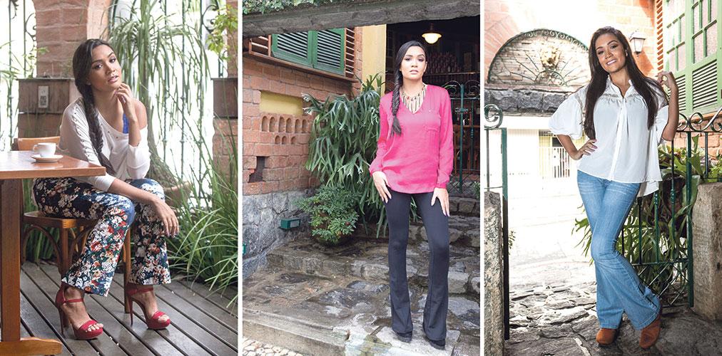 Fashion: Calça floral, blusa de linha branca, sutiã de renda azul e sandália vermelha  Despojada: Calça preta, bata rosa de cetim, maxicolar e scarpin preto  Básica: Calça jeans claro, bata branca e botinha castor