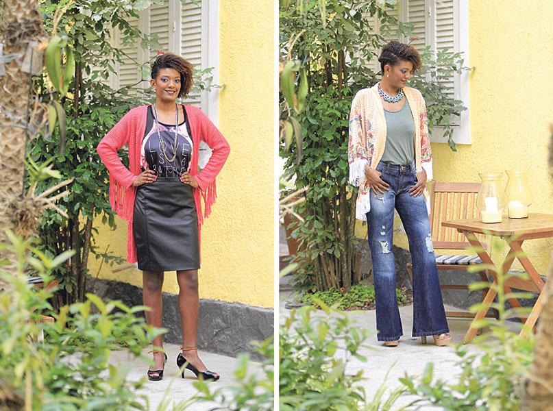 Moderna: Saia, regata, quimonode tricô, peep toe de verniz, brinco e cordão Casual chique: Calça jeans, regata, quimono, sandália de verniz, maxicolar e brinco